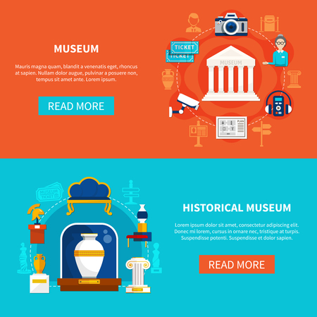 Flat horizontal banners on museum theme with historical artifacts guide accessories and exhibition equipment vector illustration  Illusztráció