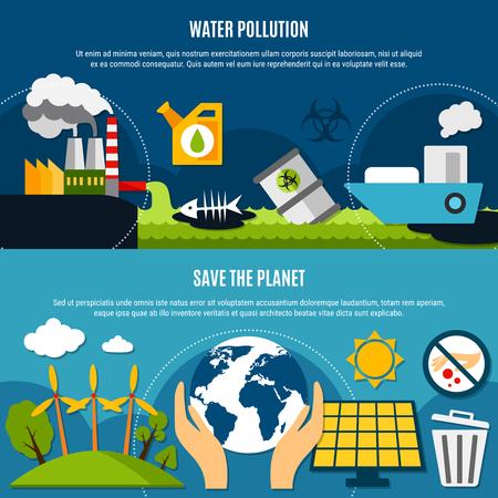 생태 및 오염 수평 배너 물 오염 기호 평면 절연 벡터 일러스트와 함께 설정