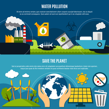 Ecology and pollution horizontal banners set with water pollution symbols flat isolated vector illustration