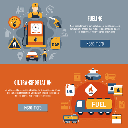 Fuel pump banner set with fueling oil transportation descriptions and read more buttons vector illustration