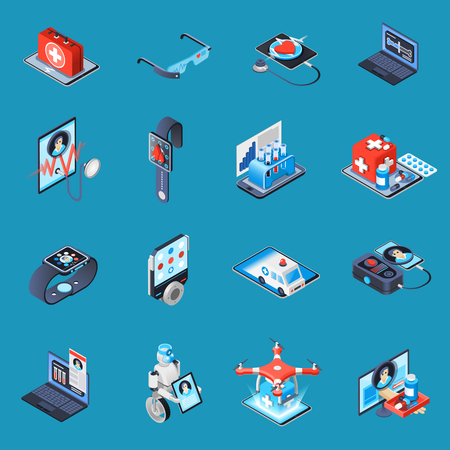 電子デバイス、ロボット技術、ターコイズ背景ベクトルイラストに隔離されたオンライン相談を用いたデジタル医療アイソメトリックアイコン