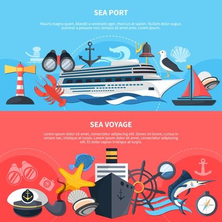 Sea voyage horizontal banners set with sea port symbols flat isolated vector illustration Illustration