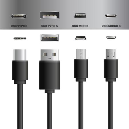 Realistas cables de control usb conjunto de imágenes de los tipos con tipos modernos de enchufes conectados y radios ilustración vectorial Foto de archivo - 93057722