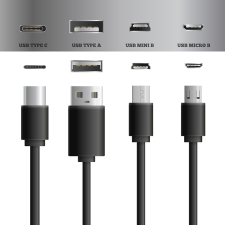 Realistic usb cable connectors types set of images with modern types of usb plugs and sockets vector illustration