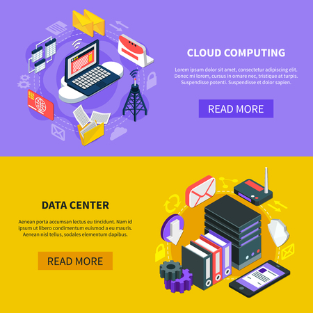 Cloud computing and data center horizontal banners with hardware used for data exchange technology and storage service isometric vector illustration