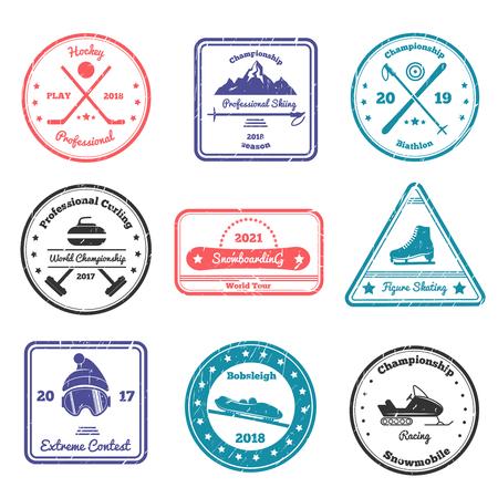 스키, 바이애슬론, 하 키, 컬링, 피겨 스케이팅, 스노우 보드 격리 벡터 일러스트 레이 션과 다양 한 모양의 겨울 스포츠 우표
