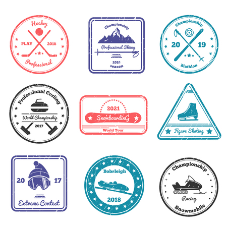 Winter sports stamps of various shape with skiing, biathlon, hockey, curling, figure skating, snowboarding isolated vector illustration Illustration