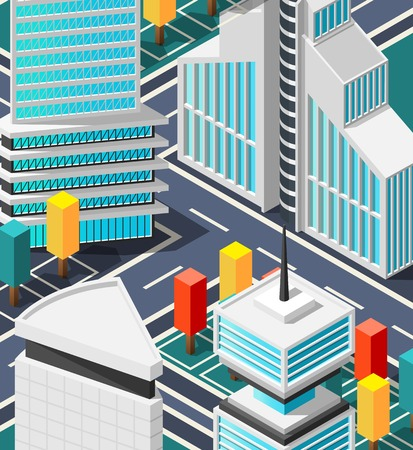 Fragment of city top view with crossroad  abstract street elements and futuristic architecture isometric vector illustration