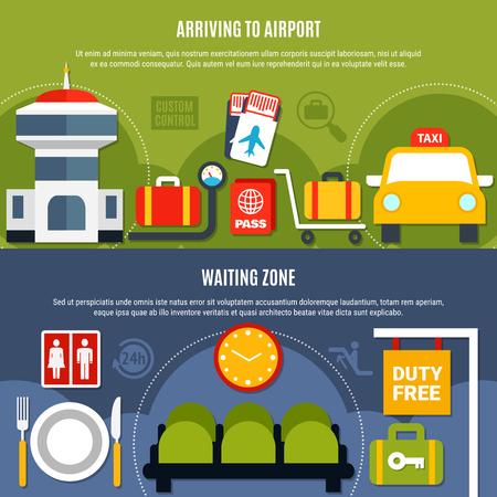 免税待ちゾーン情報分離ベクトルイラスト付き国際空港サービス2明るい平らな水平バナー  イラスト・ベクター素材