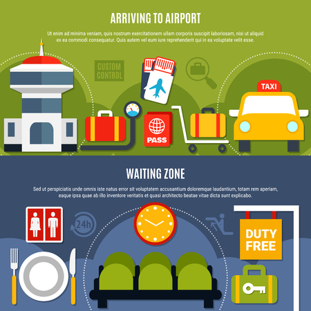International airport service 2 bright flat horizontal  banners with duty free waiting zone information isolated vector illustration  Illustration