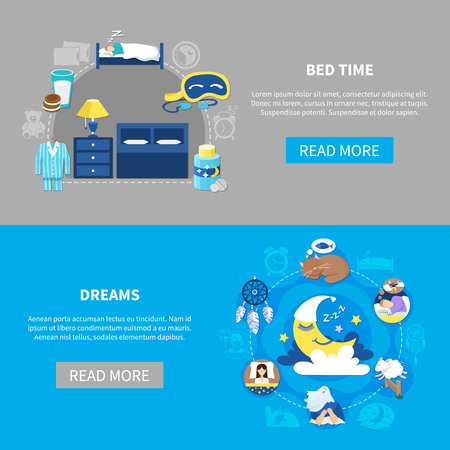 Bedtime attributes and night dreams symbols flat round compositions 2 horizontal banners webpage design isolated vector illustration
