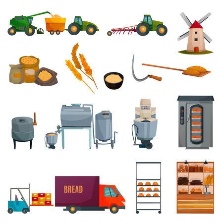 Zestaw do produkcji chleba z uprawą zbóż, zbiorem, sprzętem piekarniczym, dostawą produktów mącznych, półkami sklepowymi na białym tle ilustracji wektorowych
