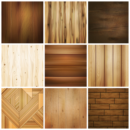 Realistic wooden floor texture set of isolated images with various square design patterns for flooring tile vector illustration Vettoriali