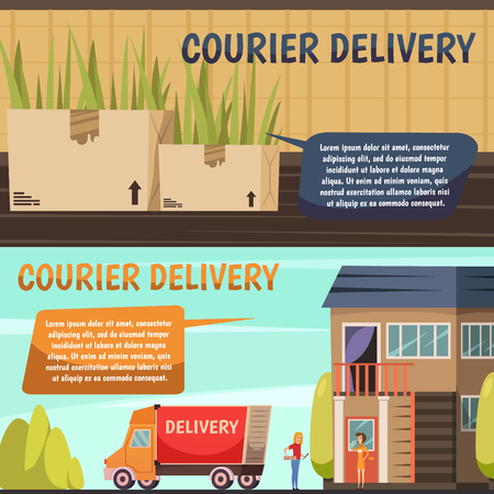 Courier service 2 horizontal orthogonal banners set with goods packages and payment on delivery isolated vector illustration    イラスト・ベクター素材