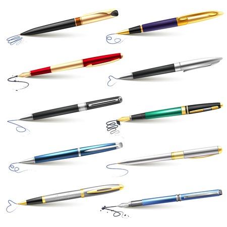 Het gekleurde en realistische bedrijfs vulpenpictogram plaatste met blauwe zwarte inkt en ballpoint vulpennen vectorillustratie