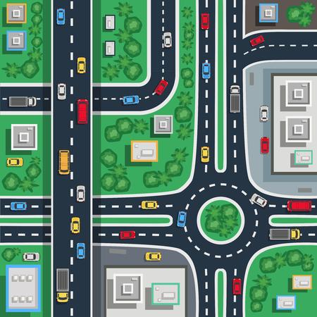 Verkeer stad wegen kruispunten bovenaanzicht vlakke poster plan kaart detail peuter baby vloermat vector illustratie