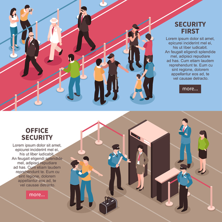 Isometric security banners collection with images of people walking through access control metal detector with more button vector illustration