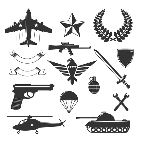 Military emblems elements set of isolated monochrome images of weapons signs and symbols on blank background vector illustration