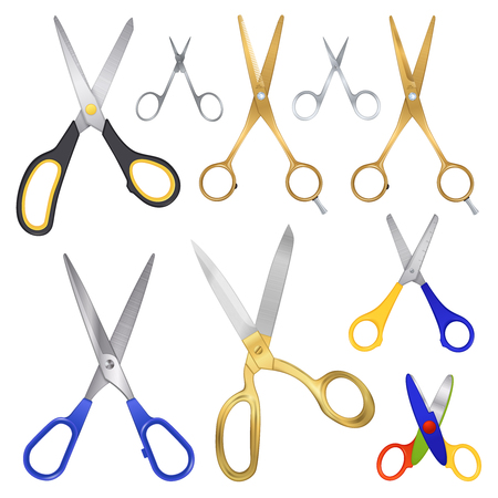 Set of realistic scissors images on blank background with different kinds of scissors for various purposes vector illustration Stock Illustratie