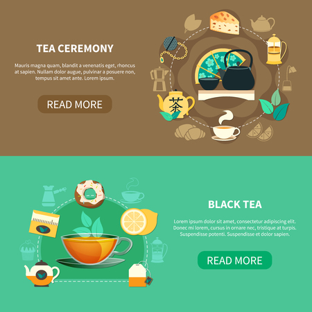 Horizontal banners with black tea and traditional drinking ceremony on brown and green background isolated vector illustration