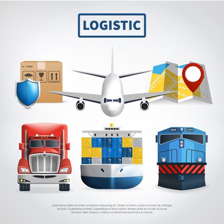 商品や大きな見出しベクトルイラストを届ける輸送手段を持つ物流色のポスター  イラスト・ベクター素材