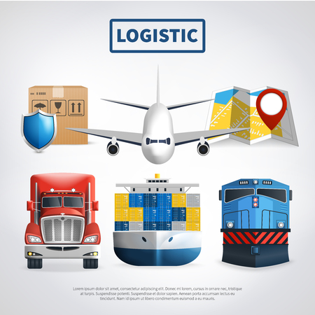 Logistic colored poster with means of transport to deliver goods and big headline vector illustration Illustration