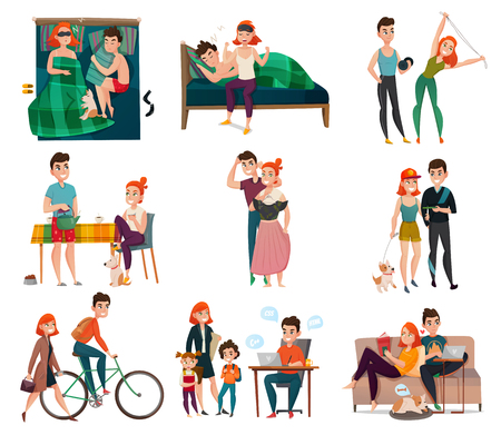 Couple in daily life activities set vector illustration