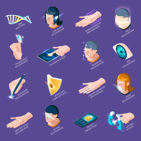 Biometric authentication isometric icons with dna matching, human body parts recognition isolated on purple background vector illustration Illustration
