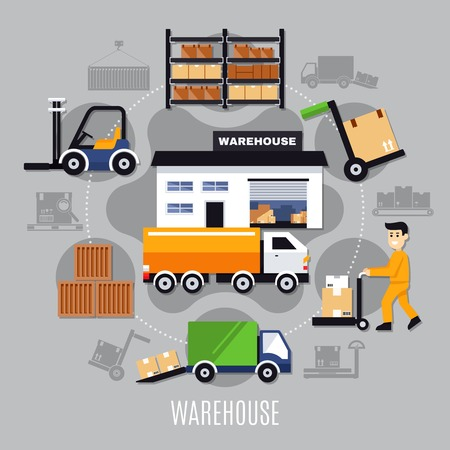 Warehouse colored composition with colored icon set on theme combined in big circle vector illustration Illusztráció