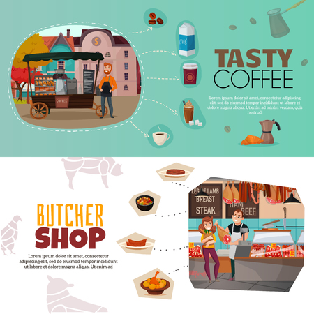 Shops horizontal banners set with coffee street cart and butcher shop symbols flat isolated vector illustration Illustration