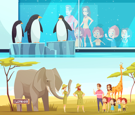 Zoo animals 2 horizontal cartoon banners with elephant and giraffe in  environment and penguins vector illustration Çizim