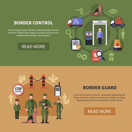 De vlakke ontwerpreeks van twee horizontale banners met grenswachten en controlefasen op kleurrijke achtergronden isoleerde vectorillustratie
