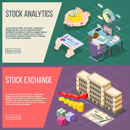 Stock analysis and stock exchange horizontal banners with working broker and exchange building isometric compositions vector illustration