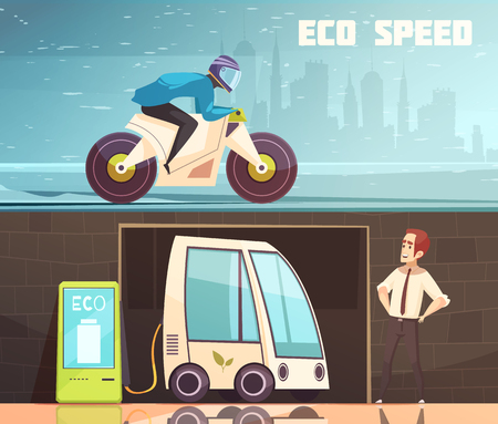 Urban ecologically clean transport 2 horizontal cartoon banners with charging electric car and green motorbike vector illustration Иллюстрация