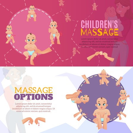 Baby massage horizontal banners set with massage options symbols flat isolated vector illustration Illustration