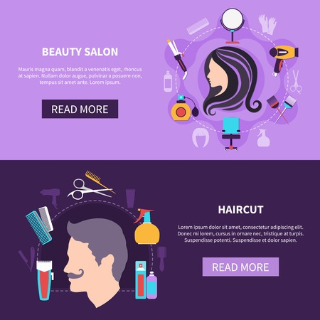 Two colored and horizontal hairdresser banner set with beauty salon and haircut descriptions vector illustration 向量圖像