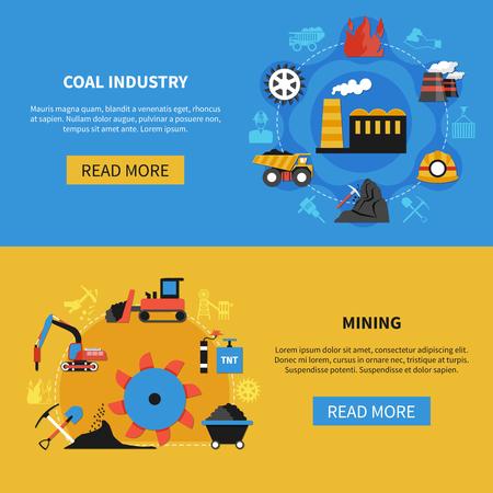 Conjunto plano de dos banderas horizontales con elementos de minería de carbón de minería en la ilustración de vector de fondo colorido aislado Foto de archivo - 93086655