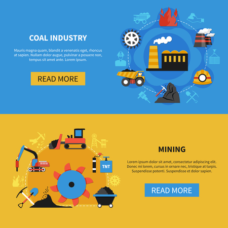 Flat set of two horizontal banners with coal mining industry elements on colorful background isolated vector illustration
