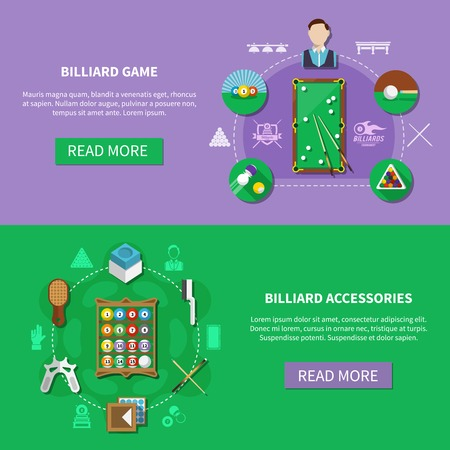 Billiards set of horizontal banners with players, game accessories isolated on green and lilac background vector illustration Ilustrace
