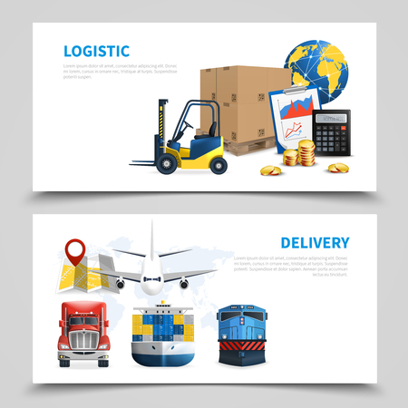 Two horizontal colored logistic banner set with logistic and delivery descriptions on white background vector illustration