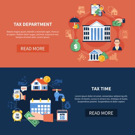 Conjunto de banners horizontais com o departamento de imposto, renda e propriedade, tempo de pagamento do dever isolado ilustração vetorial Foto de archivo - 93088866