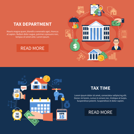 Set of horizontal banners with tax department, income and property, duty payment time isolated vector illustration Illustration