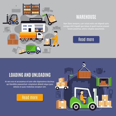 Two horizontal warehouse flat banner set with loading and unloading descriptions and read more buttons vector illustration