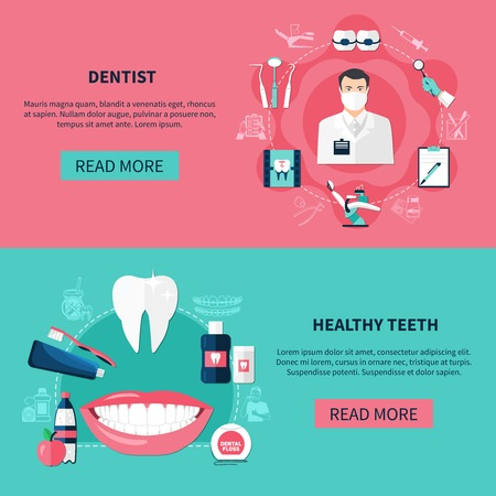 Dentistry horizontal banners with dentist tools and healthy teeth decorative icons set flat vector illustration Иллюстрация