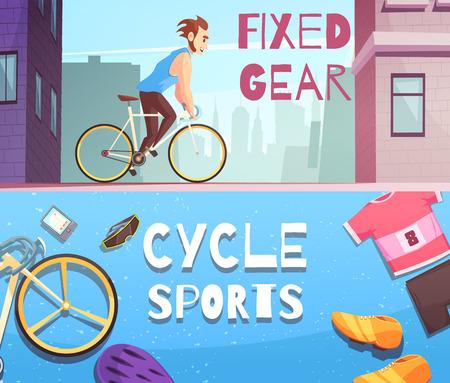 사이클링 스포츠 고정 장비 및 액세서리 거리 경주와 스포츠 벡터 일러스트와 함께 2 만화 가로 배너