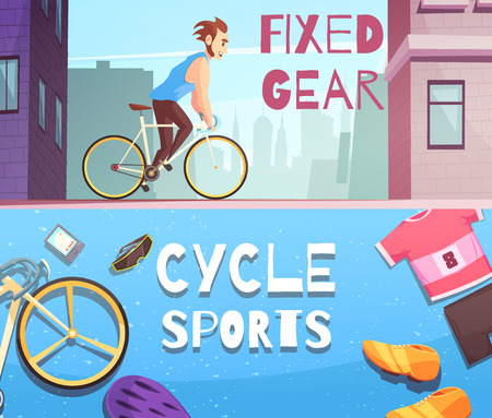 Cycling sports fixed gear and accessories 2 cartoon horizontal banners with street racing and sportswear vector illustration