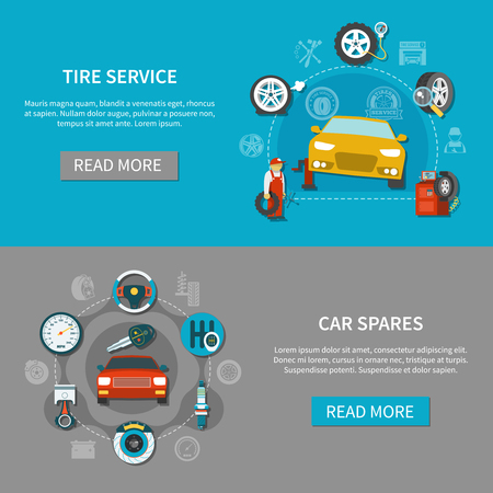 Tire service horizontal banners set with automobile spares and mechanic repairing car flat isolated vector illustration