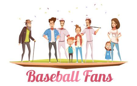 Baseball fans design concept with three generations of big family standing on baseball field flat cartoon vector illustration