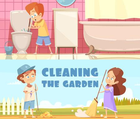 Enfants nettoyage cuvette chien dans salle de bains et l & # 39 ; aide dans le jardin 2 ans bannières de style plat isolé illustration vectorielle Banque d'images - 93359964