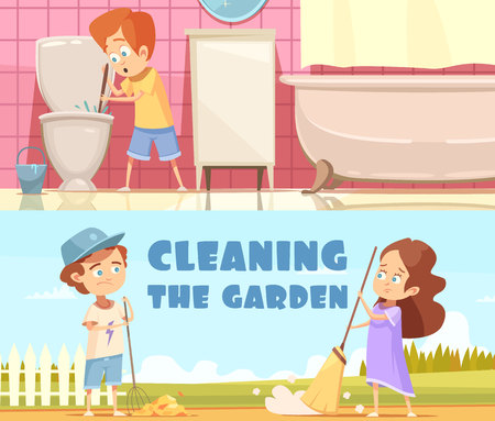 Kids cleaning toilet bowl in bathroom and helping in garden 2 horizontal cartoon banners isolated vector illustration Illustration
